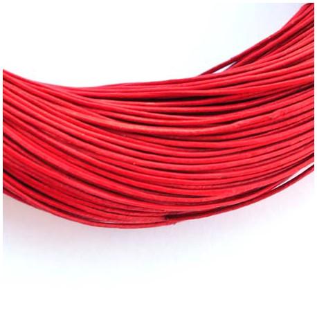 Natūralios odos dirželis, raudonos sp. 1mm - 1 metras