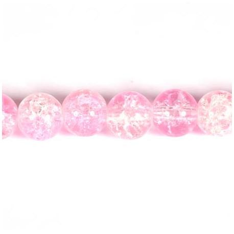 Daužto stiklo karoliukai 10 mm, rožinės sp. 70 vnt.