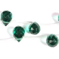 Stikliniai lašo karoliukai, tamsiai žalios spalvos 9*11 mm