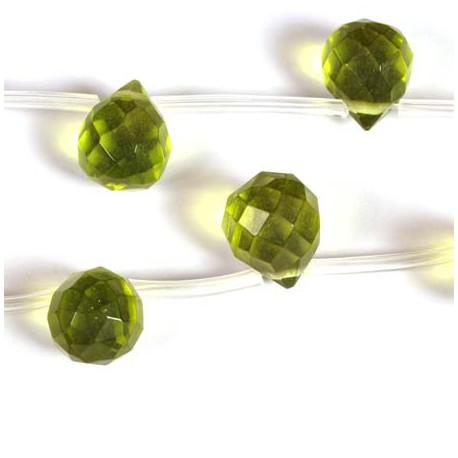 Stikliniai lašo karoliukai, olivinės spalvos 9*11 mm