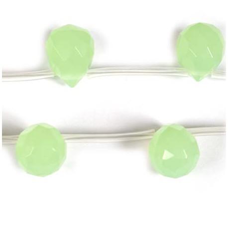 Stikliniai lašo karoliukai, salotinės spalvos 9*11 mm