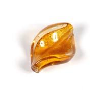Stikliniai karoliukai su folija geltonos sp. 18*29 mm