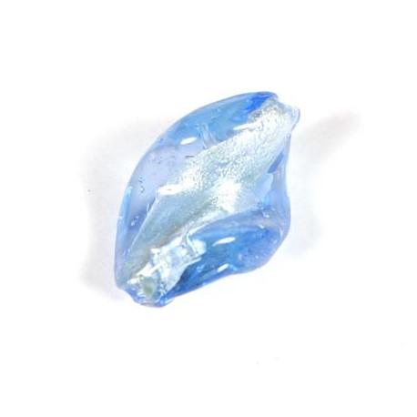 Stikliniai karoliukai su folija mėlynos sp. 18*29 mm
