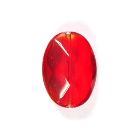 Stikliniai briaunuoti ovalūs karoliukai raudonos sp. 13*18 mm