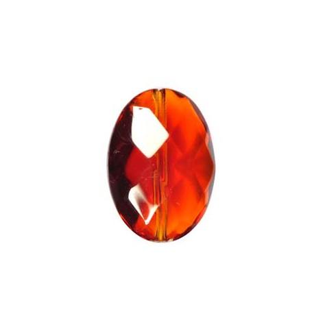 Stikliniai briaunuoti ovalūs karoliukai rudos sp. 13*18 mm