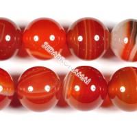 Agatas (raudonasis sardonikso), apvalus 14 mm