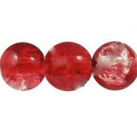 Daužto stiklo karoliukai 8 mm, raudonos sp. vėrinys.