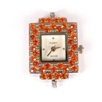 Laikrodis su swarovski kristalais orange, 1 vnt.