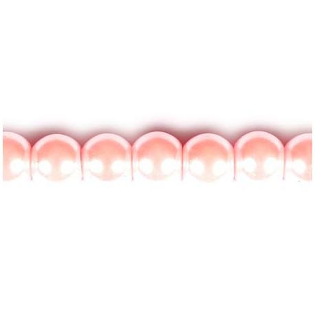 Stikliniai perlai rožinės sp. 6 mm vėrinys 40 cm