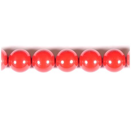 Koralas sintetinis raudonas apvalus 9 mm