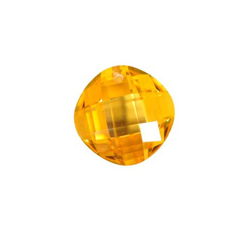 Cirkonis, geltonos sp., apvalus 14x14x6 mm.