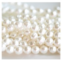 Preciosa stikliniai perlai su grioveliais (baltos sp.) 6 mm - 10 vnt