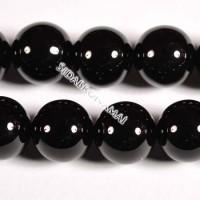 Agatas (juodas), apvalus 14 mm.