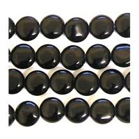 Agatas (juodas), pūsta moneta 10 mm. 1 vnt.