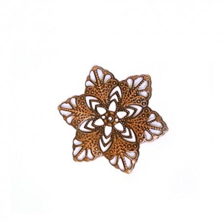 Ažūrinė plokštelė gėlė raud. bronzos sp. 42 mm 1 vnt.