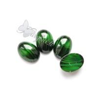Stiklinis kabošonas žalias dryžuotas 25x18 mm, 1 vnt.