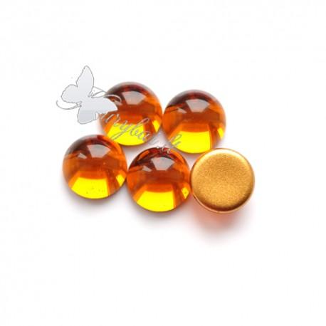 Čekiško stiklo kabošonas tamsiai geltonas 13 mm, 1 vnt.