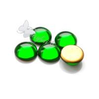 Čekiško stiklo kabošonas žalias 18 mm, 1 vnt.