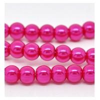 Stikliniai perlai rožinės sp. 10 mm vėrinys 40 cm