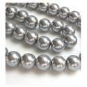 Stikliniai perlai sidabro sp. 10 mm vėrinys 40 cm