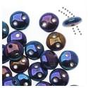 Lentil karoliukai (mėlinai auksinė sp su metallic ef.) su 2 skyl., 6 mm, 10 vnt.