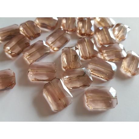 Veriamas karoliukas kristalas stačiakampis persikinės sp., su AB danga, 18x13mm, 1 vnt.