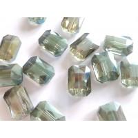 Veriamas karoliukas kristalas stačiakampis pilkai žalsvos sp., su AB danga, 18x13mm, 1 vnt.
