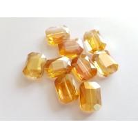 Veriamas karoliukas kristalas stačiakampis oranžinės sp., su AB danga, 18x13mm, 1 vnt.