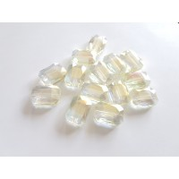 Veriamas karoliukas kristalas stačiakampis gelsvos sp., su AB danga, 18x13mm, 1 vnt.