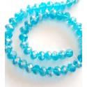 Kristalai rondelle, briaunuoti žydros spalvos su AB danga, 6x8mm, 1 juosta