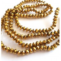 Kristalai rondelle briaunuoti, aukso sp., 6x5mm, 1 juosta