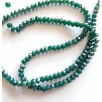 Kristalai briaunuoti rondelle, smaragdinės žalios sp., su AB danga,  3.5~4x2.5~3mm, 1 juosta