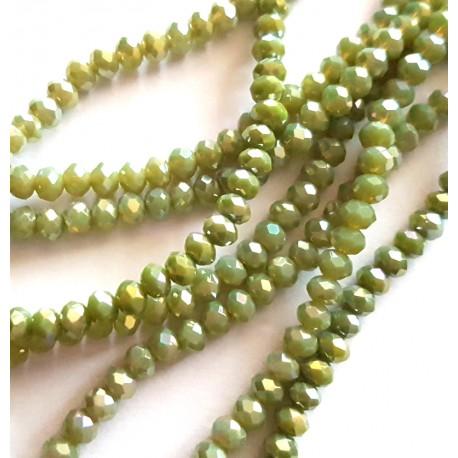Kristalai briaunuoti rondelle, šviesiai žalios sp., su AB danga, 3.5~4x2.5~3mm, 1 juosta