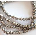 Kristalai briaunuoti apvalūs, sidabro sp., 4mm, 1 juosta
