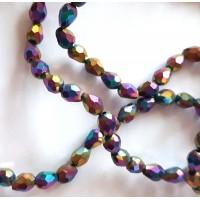 Kristalai lašo formos briaunuoti, įvairiaspalviai, 6x4mm, 1 juosta