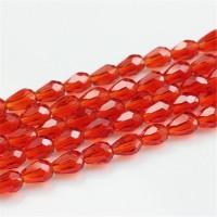 Kristalai lašo formos briaunuoti, raudonos sp., 3x5mm, 1 juosta