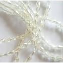 Kristalai lašo formos briaunuoti, blizgi šampano sp., 3x5mm, 1 juosta