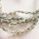 Kristalai lašo formos briaunuoti, žalia vitrail medium sp., 3x5mm, 1 juosta