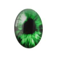 Kabošonas stiklinis žalia akis, 13x18mm, 1 vnt.