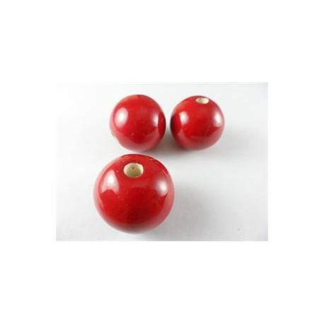 Keramikiniai karoliukai raudonos sp., apvalūs , 14mm, 1 vnt.