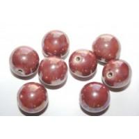 Keramikiniai karoliukai tamsiai rožinės sp., apvalūs , 14mm, 1 vnt.