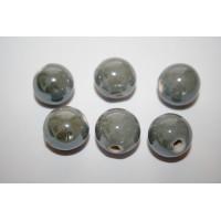 Keramikiniai karoliukai šviesiai pilkos sp., apvalūs, 14mm, 1 vnt.