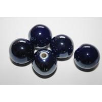 Keramikiniai karoliukai tamsiai mėlynos sp., apvalūs, 14mm, 1 vnt.