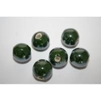 Keramikiniai karoliukai tamsiai žalios sp., apvalūs, 14mm, 1 vnt.