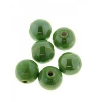 Keramikiniai karoliukai tamsiai žalios sp., apvalūs , 14mm, 1 vnt.