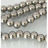 Stiklo karoliukai sidabro sp., apvalūs, 6mm, 1 juosta