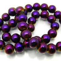 Stiklo karoliukai violetinės sp., apvalūs, 6mm, 1 juosta