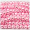 Stikliniai perlai apvalūs šviesiai rožinės sp. 8mm, 1 juosta