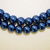 Stikliniai perlai apvalūs mėlynos sp. 8mm, 1 juosta