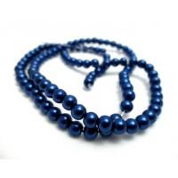 Stikliniai perlai mėlynos sp. 4 mm vėrinys 90 cm